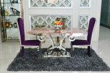 Tabela e cadeira de mármore superiores de jantar do aço inoxidável