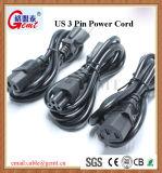 USA-amerikanischer Standard3 Pin-Stecker-amerikanischer Standard wir 3 Pin Wechselstrom-Netzkabel