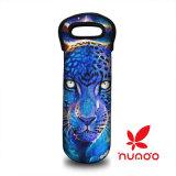 Impresión del leopardo del bolso de totalizador del vino/de la botella de agua del neopreno de la botella