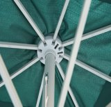 옥외 240cm*8k 바닷가는 크랭크와 누름단추식 전쟁 경사를 가진 우산을 주름잡아 드리운다