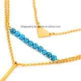 Multi capa azul turquesa de 3 capas de collar de joyería de acero inoxidable