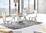 Tabella pranzante moderna dell'acciaio inossidabile di disegno del marmo operato del metallo per mobilia domestica