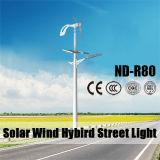 luz de calle de la energía eólica solar de los 7m poste ligero con 80W LED