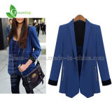 Revestimento Foldable frouxo do blazer da luva do terno das mulheres da forma do outono