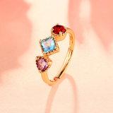 1.20 CT 삼각형 자연적인 하늘색 황옥 빨간 석류석 자수정은 정밀한 보석을 Wedding 여자를 위한 925 순은을 둥글게 된다