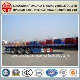 3 d'essieux du lit plat 40FT de conteneur de transport remorque semi