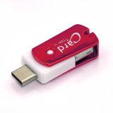 赤のスマート電話、MacBookおよびパソコンのためのマイクロSD (TF)のカード読取り装置21のUSB-CそしてUSB、