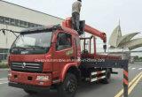 A alta qualidade 4X2 3 de patíbulo toneladas de caminhão do guindaste caminhão de 5 T montou com o guindaste para a venda