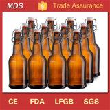 クリップふたが付いている卸し売りカスタムこはく色ビールガラスの醸造のびん