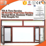 Thermische rote Eichen-Holz-Korn-Fertigstellungs-hölzernes Farben-Flügelfenster-Fenster des Bruch-Aluminium-3D, Schlafzimmer-/Baby-Raum-Gebrauch