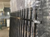 Security Garrison Tubular Fence Panels 2100mm X 2400mm Stain Black Powder Crimped Spear