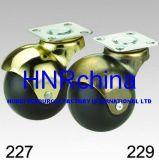 Schwarze Gummiüberzogene Schwenker-Platten-Oberseite-Kugel-Messingfußrolle