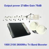 aumentador de presión de la señal del teléfono celular de 23dBm 2g/3G/4G, tri repetidor de la señal de la venda, tri amplificador de la señal de la venda