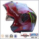 二重バイザー(LP508)が付いているオートバイのヘルメットの上の涼しい落書きフリップ