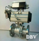 Válvula de bola flotante de RF de brida neumática de acero inoxidable