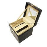 Caja de la joyería de Croco de la casilla negra con la maneta