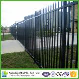 Australien-schwarzes Standardpuder beschichtete die 2.1X2.4m Stangen-Oberseite-Stahl-Zaun