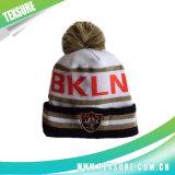 Gestreifter Winter-Beanie gestrickter Hut/Schutzkappe mit Kugel auf die Oberseite (113)