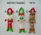 Bambola diritta della decorazione delle alci del pupazzo di neve della Santa di natale con i piedini espandentesi