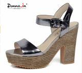 Glanzleder-Absatz-Frauen-Webart-Plattform-Sandelholz-Schuhe der Dame-