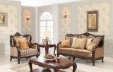 居間のための木製フレームが付いているアメリカファブリックソファーの骨董品のソファ