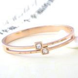 Elegante joyas de moda de las mujeres de acero inoxidable diamante de oro plateado brazalete