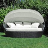 Outdoor Garden Cadeiras de praia Rattan Pool Furniture Wicker Deck Chair Sunbed Lying Lounge Bed