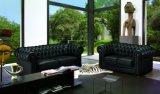Sofá moderno do couro do sofá de Chesterfield com couro ligado para o sofá da sala de visitas