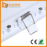 luz de teto Ultrathin Recessed 85-265V do painel do diodo emissor de luz do quadrado da lâmpada da parede 6W para baixo