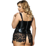 2017 Plus Size Faux Leather e Venice Corset de renda