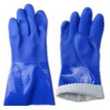 Gants lisses de manchette de fini de PVC Sandy de paume bleue de fini