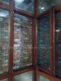 Foshan Woodwin Larch Madeira Janela de madeira com vidro temperado duplo