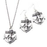 De hete Juwelen van de Legering van het Zink van de Vorm van het Anker van de Boot van de Manier van de Verkoop plaatsen Halsband en Oorringen