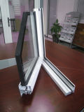 Ventana abatible de aluminio con panel fijo lateral