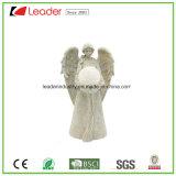 Estátua branca do anjo da resina com luz solar para ornamento do jardim