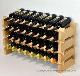 Estantes de visualización amontonables de madera sólida del soporte del almacenaje del estante del vino