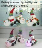 산타클로스와 눈사람 보유 LED 점화 초 크리스마스 훈장 3asst