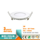 Luz del panel redonda ultra delgada de 3W LED Downlight& LED para la luz de techo