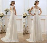 Le double cranté attache la robe de mariage extérieure intégrale sans manche de plage