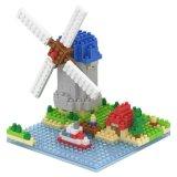 os blocos da série dos edifícios do jogo do bloco 14889405-Micro ajustaram o brinquedo educacional creativo 260PCS de DIY - moinho de vento holandês