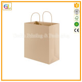 Bolsa de papel de encargo en el papel de Kraft con la cadena de papel