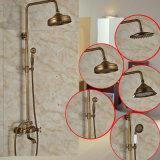 Robinet en laiton de douche de précipitations d'antiquité de support de surface de salle de bains réglé avec le bec de baquet de Handshower