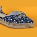 Sandali delle scarpe di tela della piattaforma della cinghia della caviglia del Sequin del fiore della tela di canapa delle signore di modo