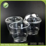 12ozドームのふたが付いている生物分解性の明確なプラスチックアイスクリームのコップ