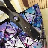 큰 크기 별 하늘 패턴 마름모꼴 접히는 핸드백 (A077)