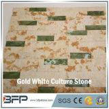 Weißer u. goldener Marmor gestapelter Leiste-Kultur-Stein für Merkmals-Wand