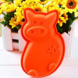 Красное Piggie сформировало прессформу торта силикона качества еды