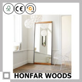 Browm Rectangle Living Room Wall Mirror in Wood Frame