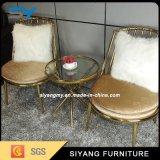 Mobiliário de exterior Glod Cadeira de casamento de metal e couro
