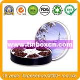 O chocolate redondo do metal pode com indicador do PVC, caixa do estanho do chocolate
